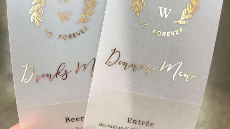printing services melbourne wedding menu translucent vellum foil